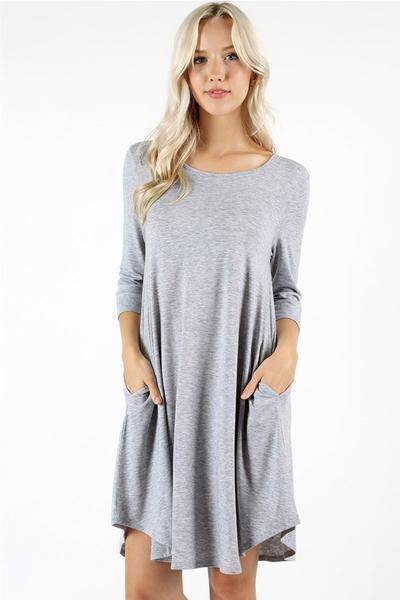 White Plum Day Dresses Small / Blue Grey Essential ¾ Sleeve Solid Tunic Dress