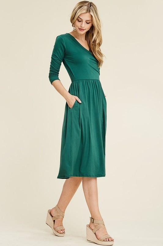 White Plum Dress Extra Large / Hunter Green Flatter Me Solid Flare Dress in Hunter Green or Burgundy