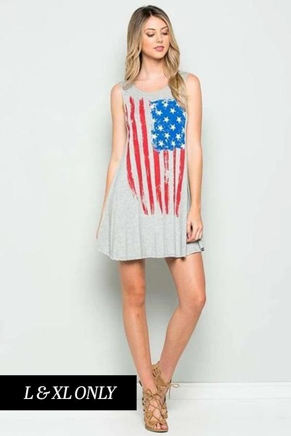 White Plum Dress I Love the Flag Tank Dress in Heather Gray
