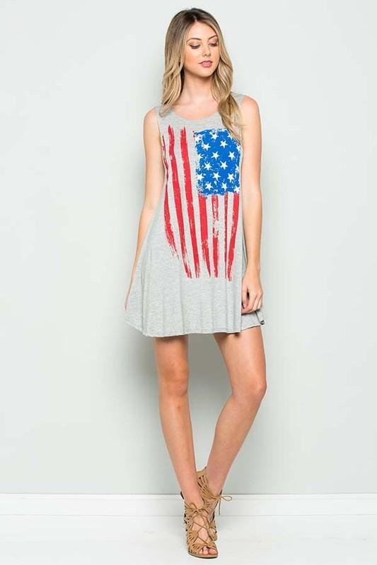 White Plum Dress Medium / Heather Grey I Love the Flag Tank Top in Heather Gray