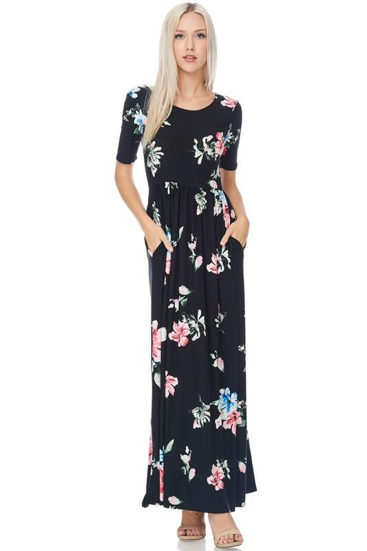 White Plum Dress Small / Black Pocket Full of Flowers