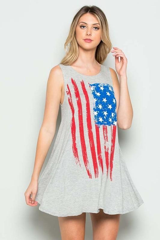 White Plum Dress Small / Heather Grey I Love the Flag Tank Top in Heather Gray