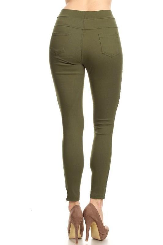 White Plum Jeggings Small / Olive Moto Jeggings With Zipper Detail in Olive