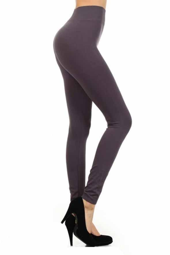 White Plum Leggings One Size / Charcoal High Waisted Solid Leggings