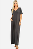White Plum Maxi Dresses Small / Titanium Essential V-Neck Pocket Maxi Dress - More Colors!