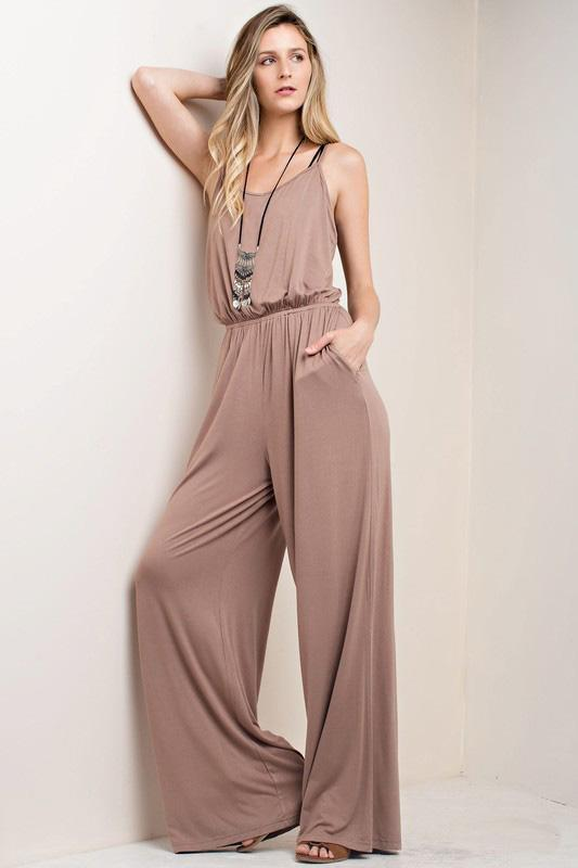 "White Plum Pants Large / Mocha ""Just One More"" Jumpsuit"