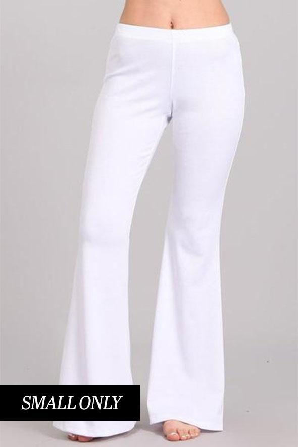 White Plum Pants Ponte Knit Flare Pants in White