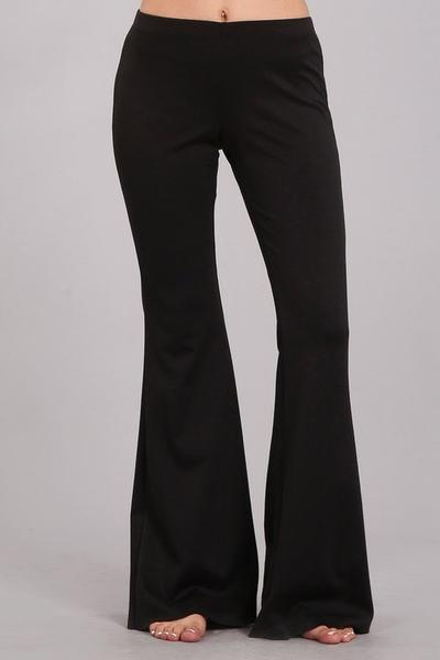 White Plum Pants Small / Black Ponte Knit Flare Pants in Black