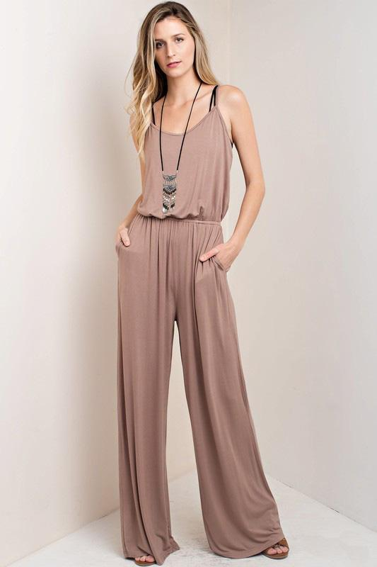 "White Plum Pants Small / Mocha ""Just One More"" Jumpsuit"