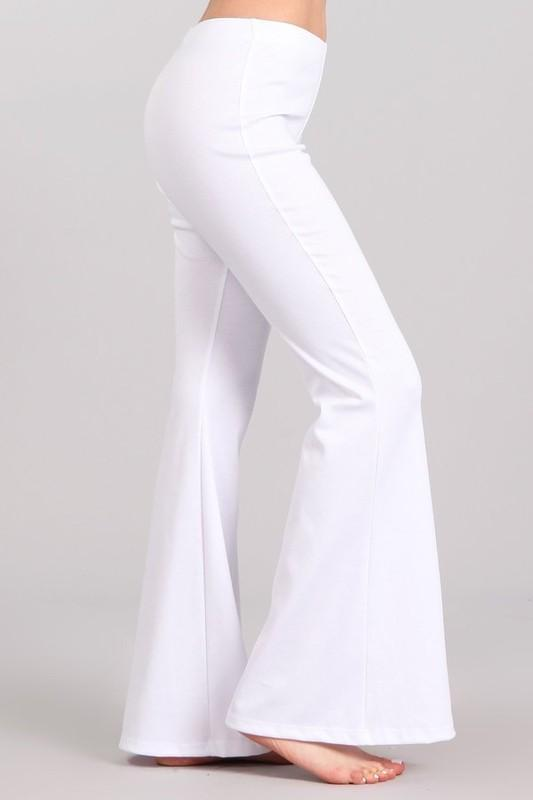 White Plum Pants Small / White Ponte Knit Flare Pants in White