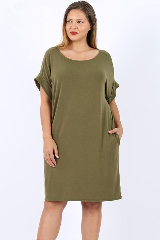 Plus Size T-Shirt Dress - 1X / Olive