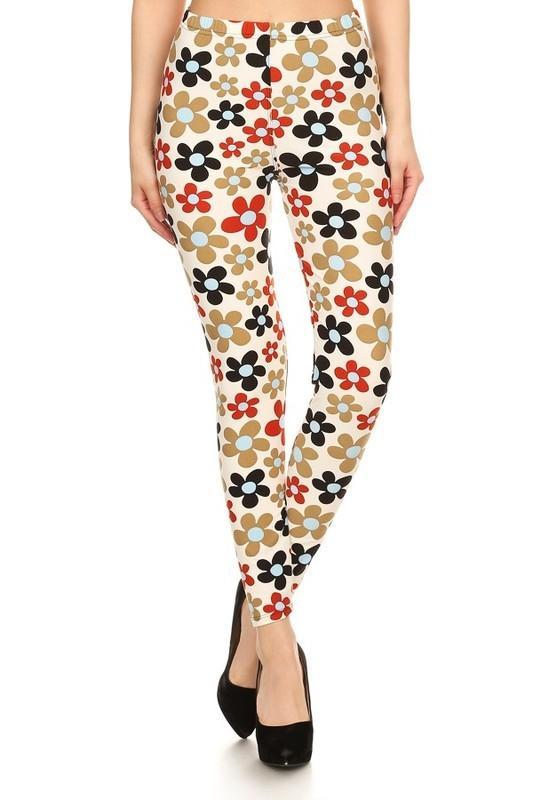 White Plum Print Leggings 0-12 / Multicolor Flower Power Print Leggings- Regular Size!