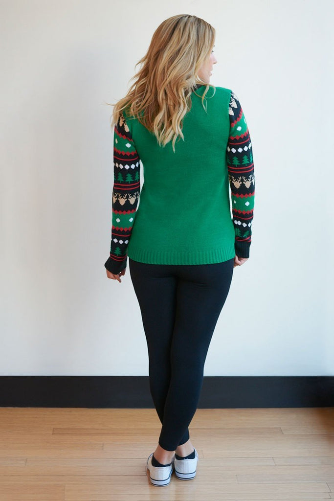 a00f31d6be83c ... White Plum Sweaters Small / Green Root Deer Christmas Sweater ...