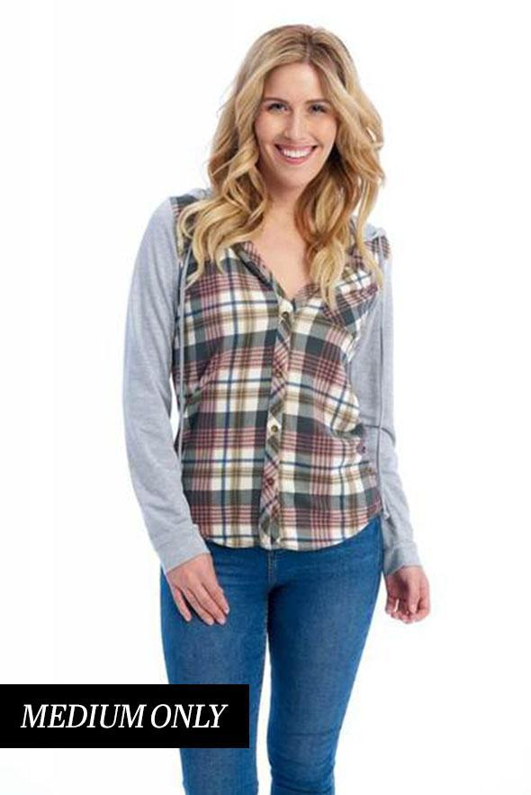 White Plum tops Passport Comfy Plaid Shirt with Hood in Black/Mauve