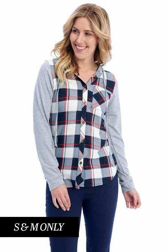 White Plum tops Passport Comfy Plaid Shirt with Hood in Red/Blue