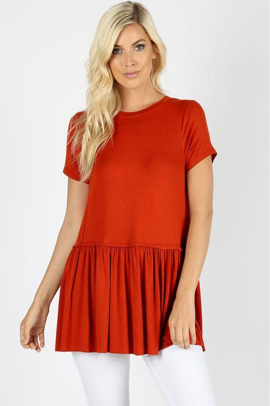 White Plum tops Small / Deep Coral Really Ruffled