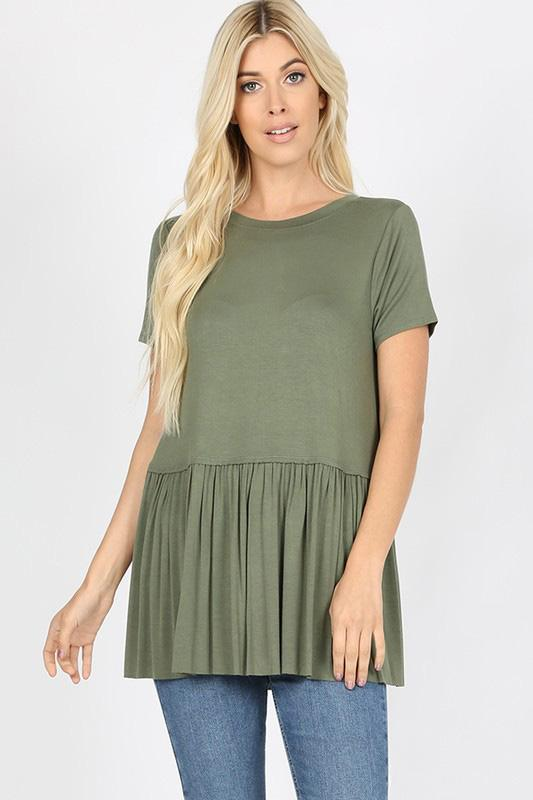 White Plum tops Small / Light Olive Really Ruffled