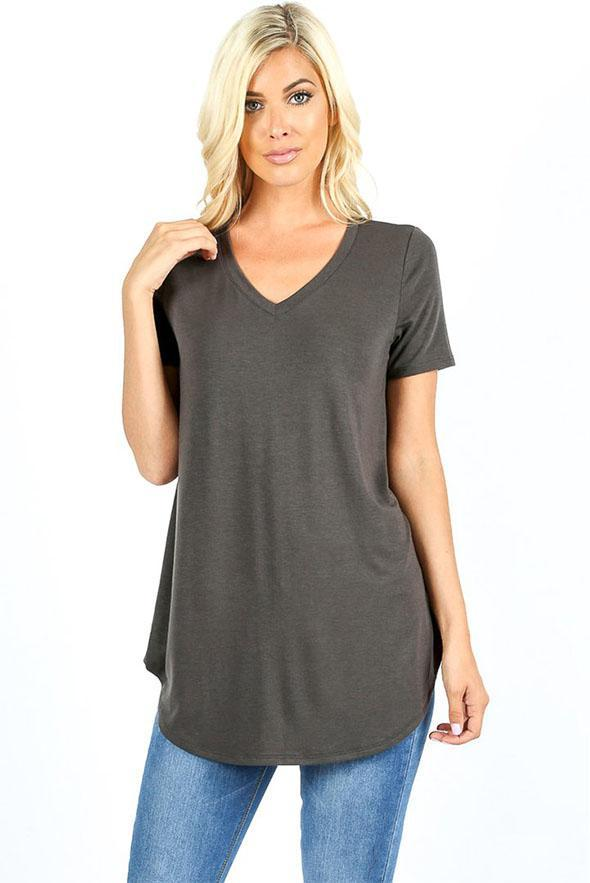 White Plum Tunics Small / Ash Grey Essential Relaxed Fit V Neck SS Tunic Top - Multiple Colors!