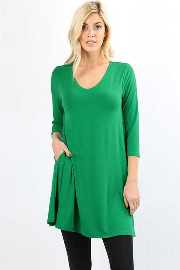 White Plum Tunics Small / Kelly Green Essential 3/4 Sleeve V Neck Tunic Top - Multiple Colors!