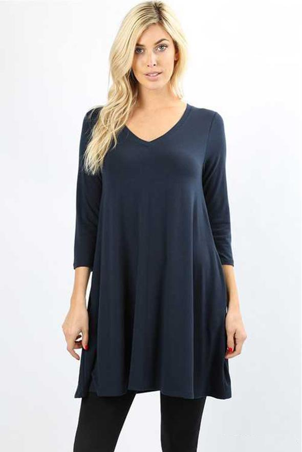 White Plum Tunics Small / Midnight Navy Essential 3/4 Sleeve V Neck Tunic Top - Multiple Colors!