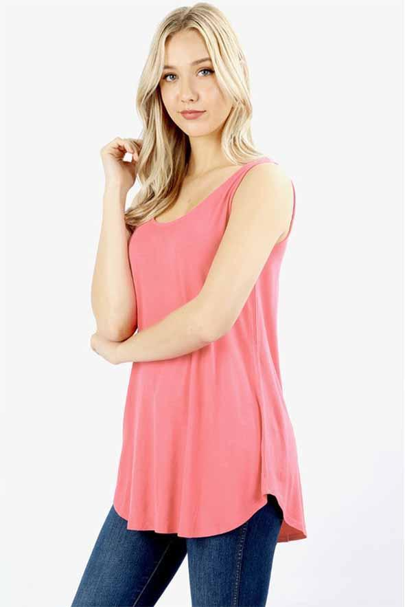 49f8718155766a White Plum Tunics Small   Rose Pink Essential Solid Layering Tunic Tank -  More Colors!
