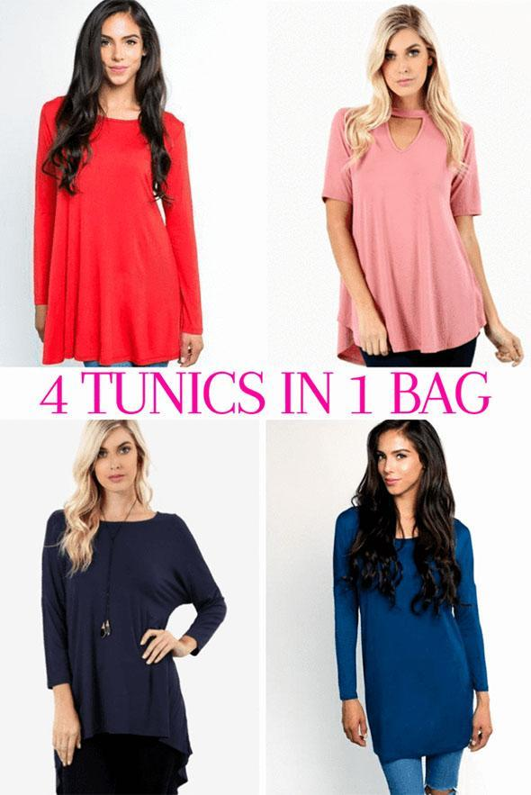 White Plum Tunics Surprise Grab Bag- Filled with 4 Fave Tops!