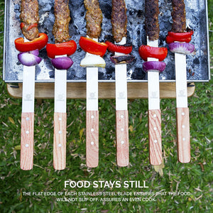 Kabob Skewers - 23 inch Long & 5/8 inch Wide Stainless Steel