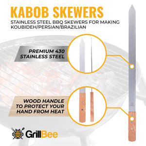 Kabob Skewers - 23 inch Long & 1 inch Wide Stainless Steel