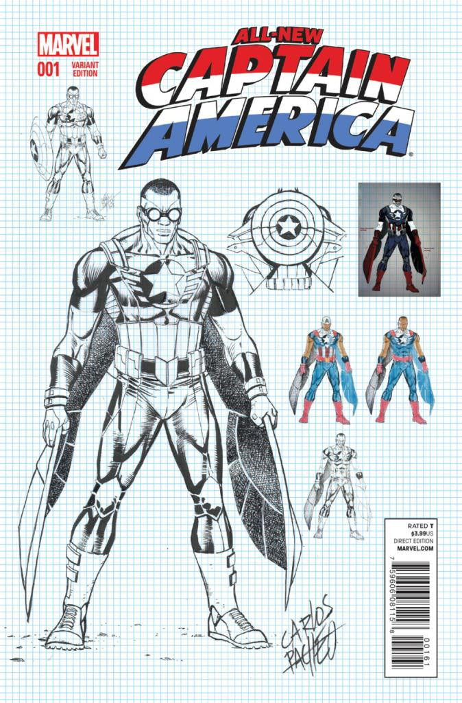 "All-New Captain America (2014 Series) #1 (Variant ""Character Design"" Cove - Carlos Pacheco)"