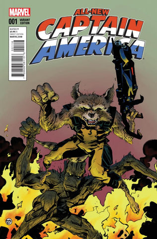 "All-New Captain America (2014 Series) #1 (Variant ""Rocket Raccoon & Groot"" Cover - Paul Pope)"