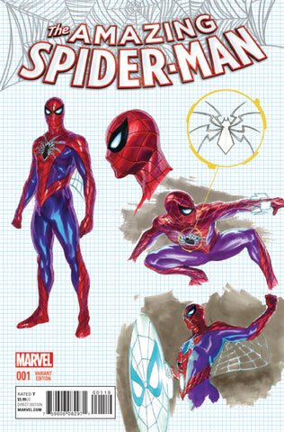 "Amazing Spider-Man (2015 Series) #1 (Variant Incentive ""Character Design"" Cover - Alex Ross)"