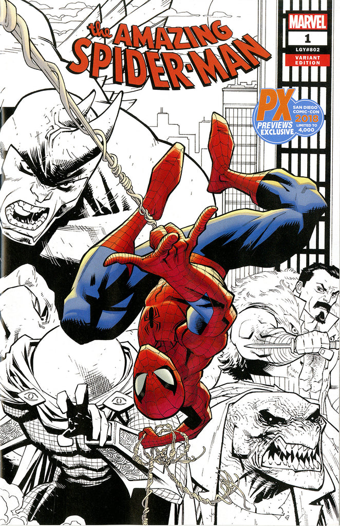 Amazing Spider-Man (2018 series) #1 (Variant SDCC 2018 B&W Wrap Cover - Ryan Ottley)