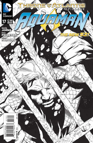 Aquaman (2011 Series) #17 (Variant  Incentive B&W Wrap Cover - Eddy Barrows)