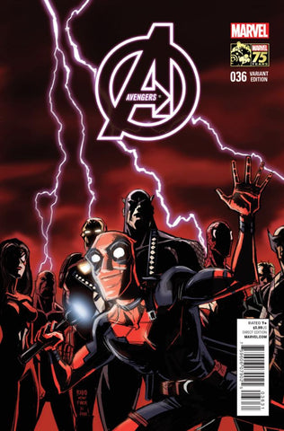 "Avengers (2012 Series) #36 (Variant Incentive ""75 Years of Marvel"" Deadpool Cover - Bobby Rubio)"
