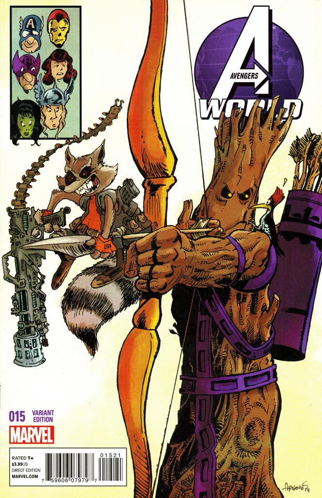 "Avengers World (2013 Series) #15 (Variant ""Rocket Raccoon & Groot"" Cover - Sergio Aragones)"