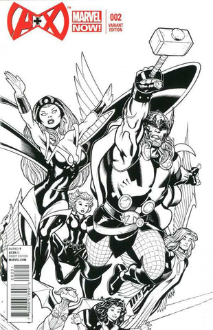 "A+X (2012 Series) #2 (Variant Incentive B&W ""Sketch"" Cover - Ed McGuinnes)"