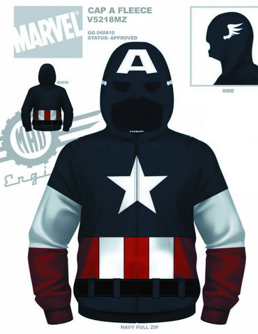 Captain America – Uniform Adult Men's Fleece Zip-Up Hoodie (XXL)