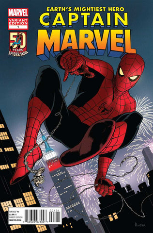 "Captain Marvel (2012 Series) #1 (Variant ""50 Years of Spider-Man"" Cover - Paolo Rivera)"