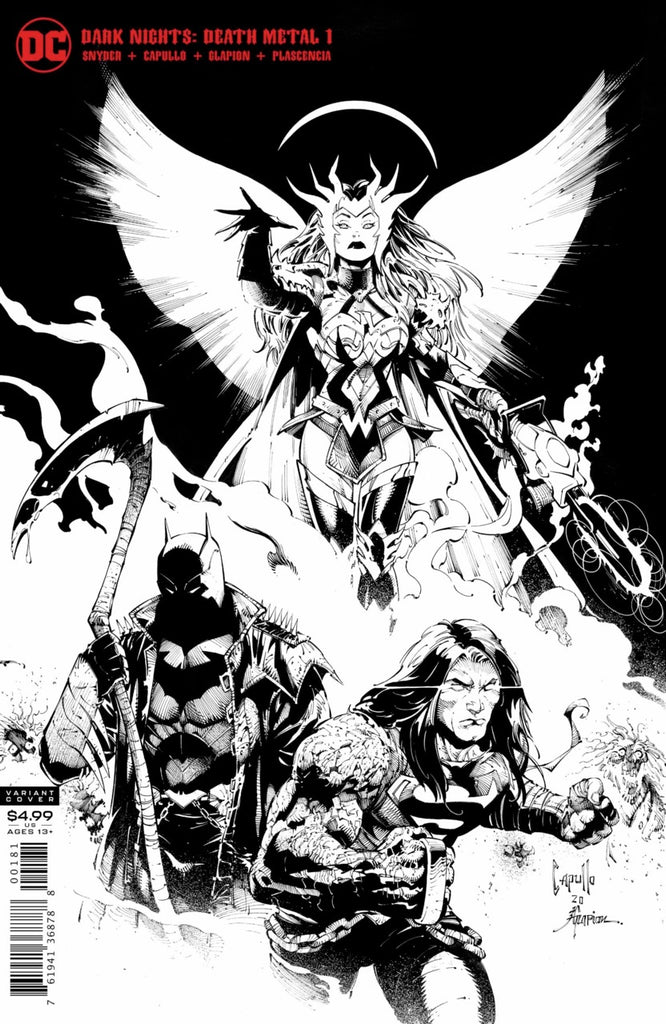 "Dark Nights; Death Metal (2020 mini-series) #1 (of 6) (Variant ""Midnight Release Party"" B&W Card Stock Cover - Greg Capullo)"