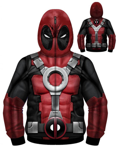 Deadpool – Uniform Painted Sublimated Adult Men's Hoodie (XXL)