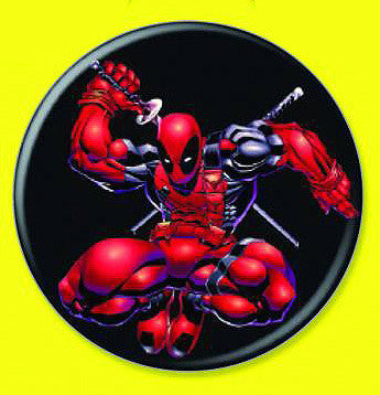 Tin Button – Deadpool – Deadpool Attacks Drawing His Sword
