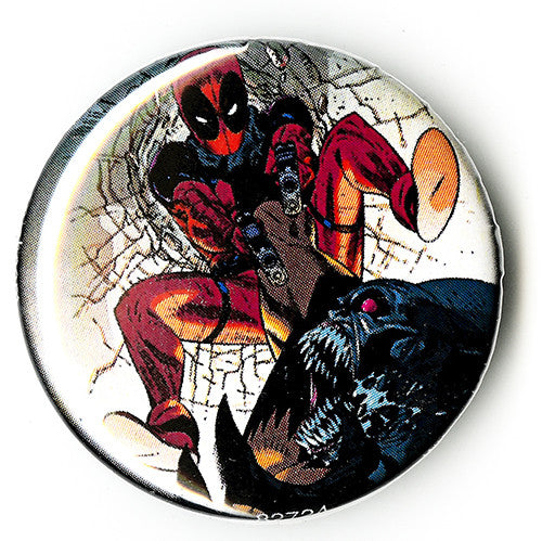 Tin Button – Deadpool – Deadpool Attacks Firing His Guns
