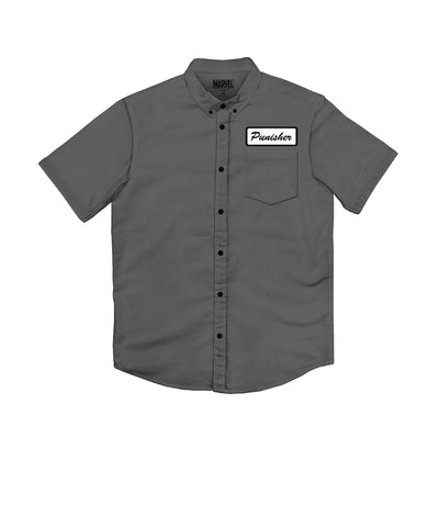 "Marvel Comics: Punisher — ""Frank Works"" Charcoal Button-Up Work Shirt (XXL)"