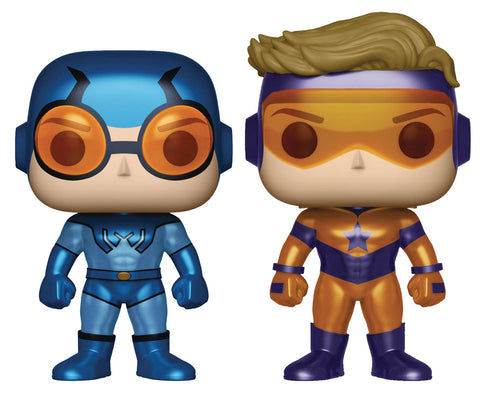 "POP! Heroes – Justice League International – Booster Gold & Blue Beetle 3.25"" Vinyl Bobble Figure 2-Pack (Variant ""Metallic"" Version)"