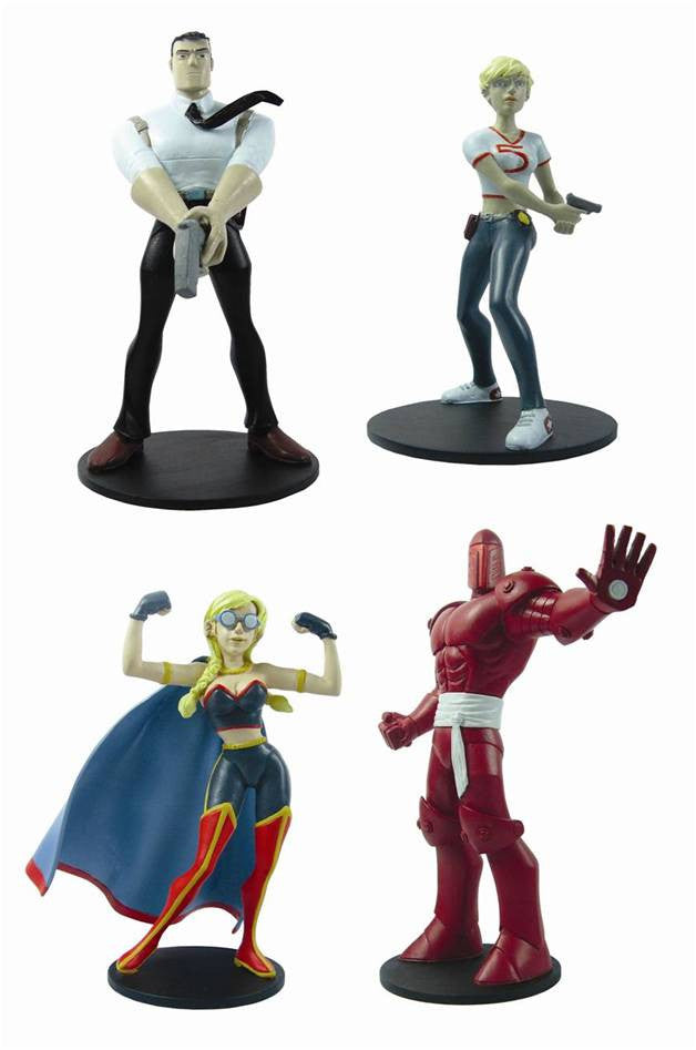 "Powers Figure Set – Walker, Pilgrim, Triphammer, and Retro-Girl 5"" Vinyl Figures"