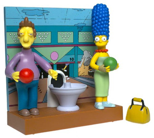 "Simpsons (TV) – World of Springfield – Toys R Us Exclusive – Fast Lane Bowling Alley Environment Playset with Jacques & Marge Interactive 5"" Figures"