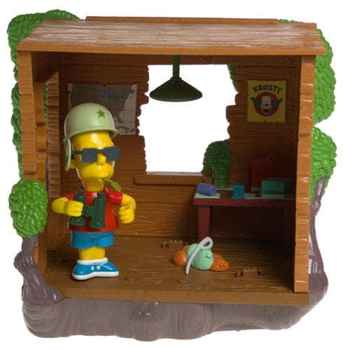 "Simpsons (TV) – World of Springfield – Wave 12 – Bart's Treehouse Environment Playset with Military Bart Interactive 5"" Figure"