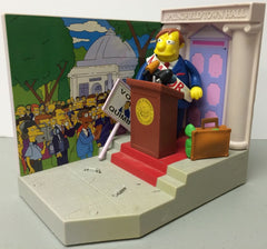"Simpsons (TV) – World of Springfield – Wave 3 – Springfield Town Hall Environment Playset with Mayor Quimby Interactive 5"" Figure"