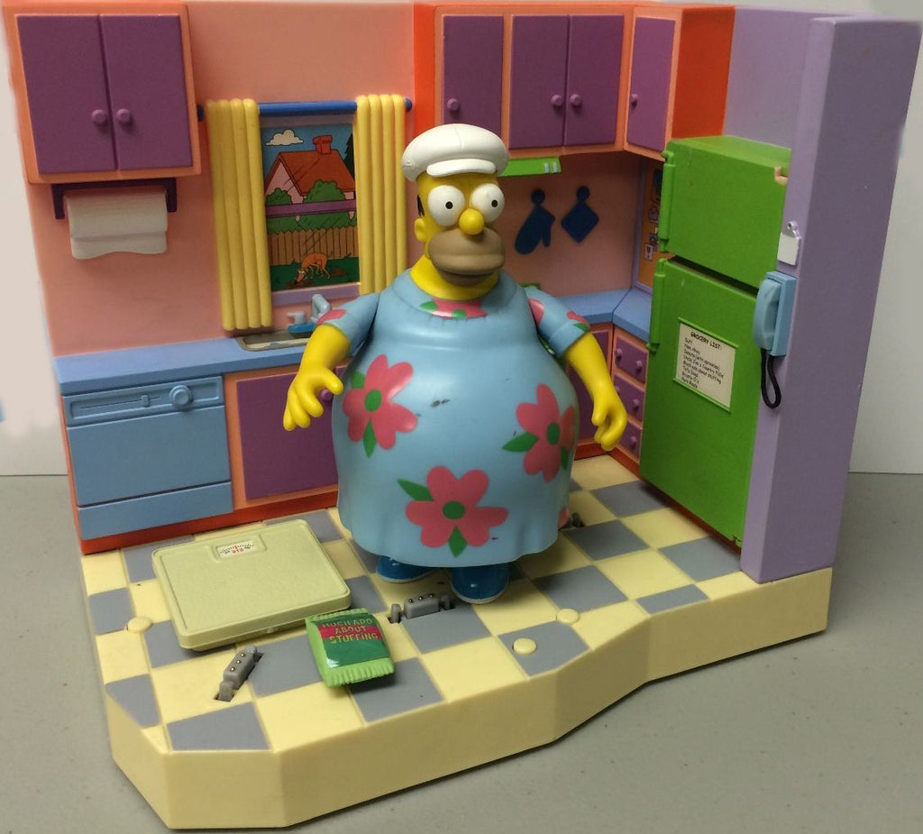 "Simpsons (TV) – World of Springfield – Wave 6 – Simpson's Kitchen Environment Playset with Muumuu Homer Interactive 5"" Figure"