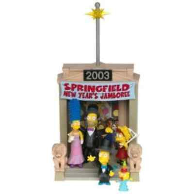 "Simpsons (TV) – World of Springfield – Toys R Us Exclusive – New Year's Eve Environment Playset with Formal Dress Simpsons Family Interactive 5"" Figures"